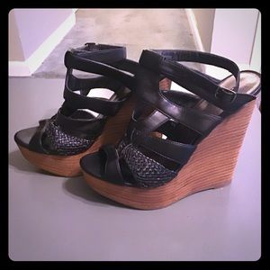 Sexy black stacked wedge platform sandals